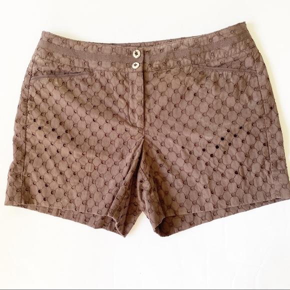 Eyelet brown shorts White House Black Market